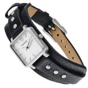 Fossil Square Black Leather Cuff Women's Watch